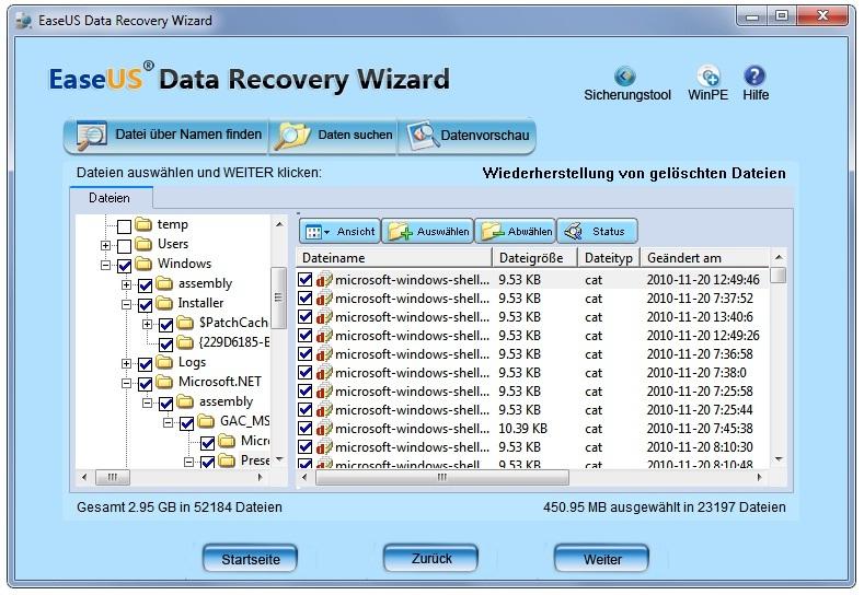 Wiederherstellen der Dateien